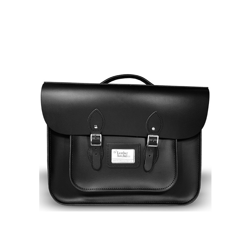 Kožená aktovka od Leather Satchel - Charcoal Black, 16,5""