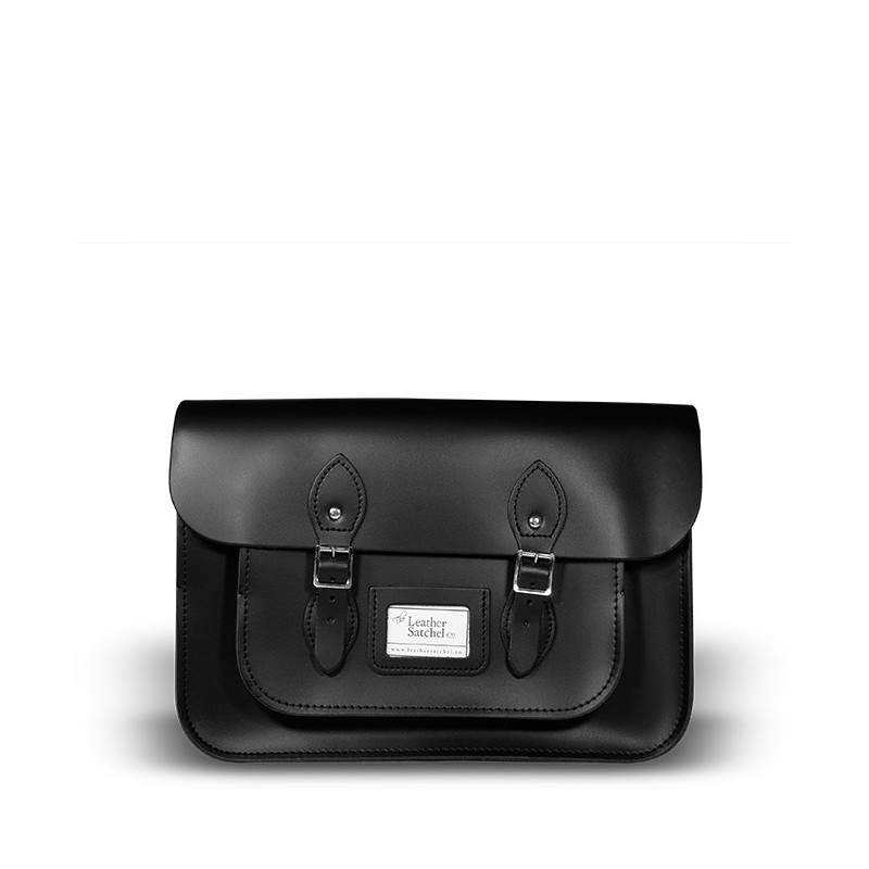 Kožená brašna od Leather Satchel - Charcoal Black, 14""