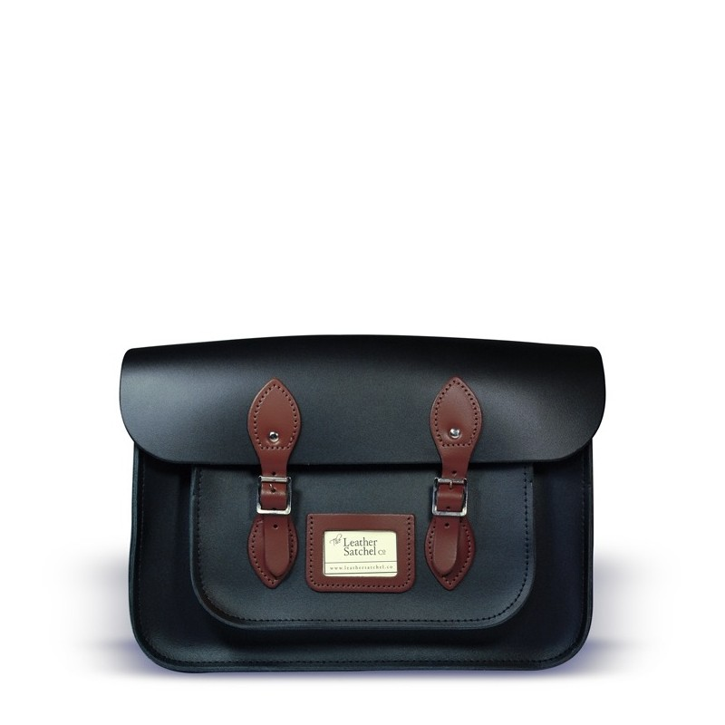 Kožená brašna od Leather Satchel - Charcoal Black + Chestnut Brown, 14""