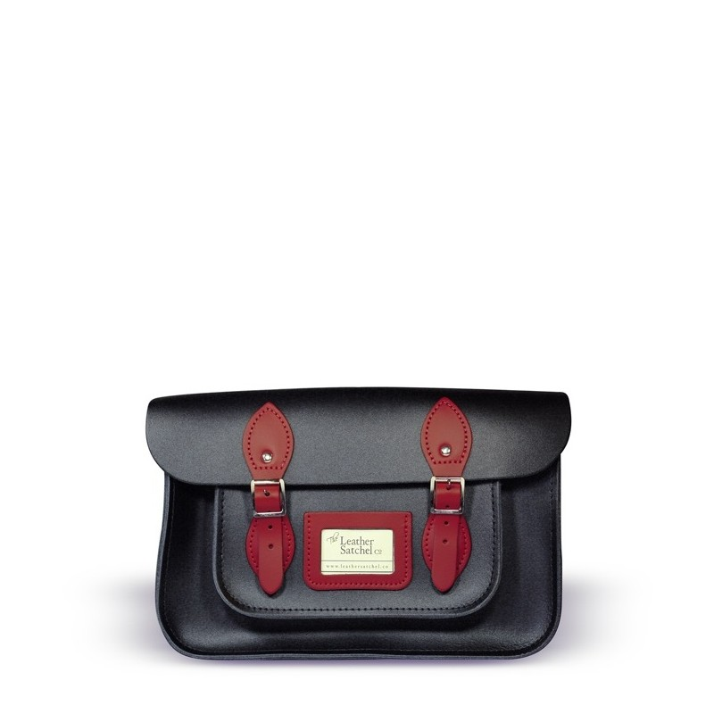 Kožená brašna od Leather Satchel - Charcoal Black + Pillarbox Red, 12,5""