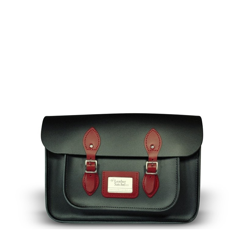 Kožená brašna od Leather Satchel - Charcoal Black + Pillarbox Red, 14""