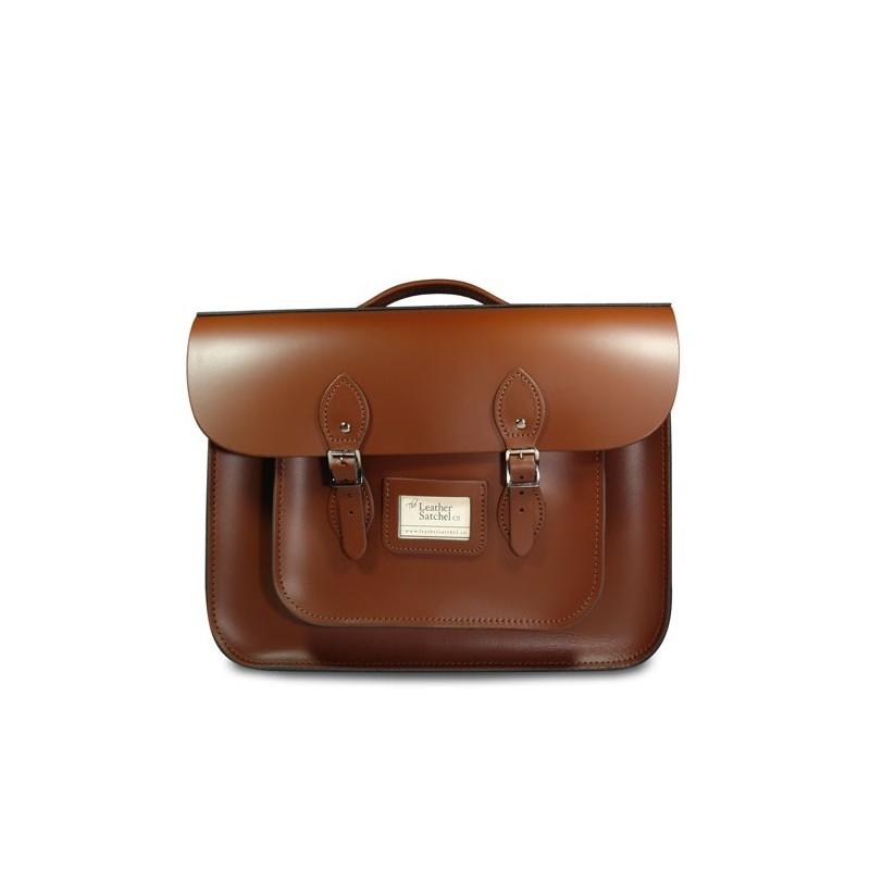 Kožená aktovka od Leather Satchel - Chestnut Brown, 16,5""