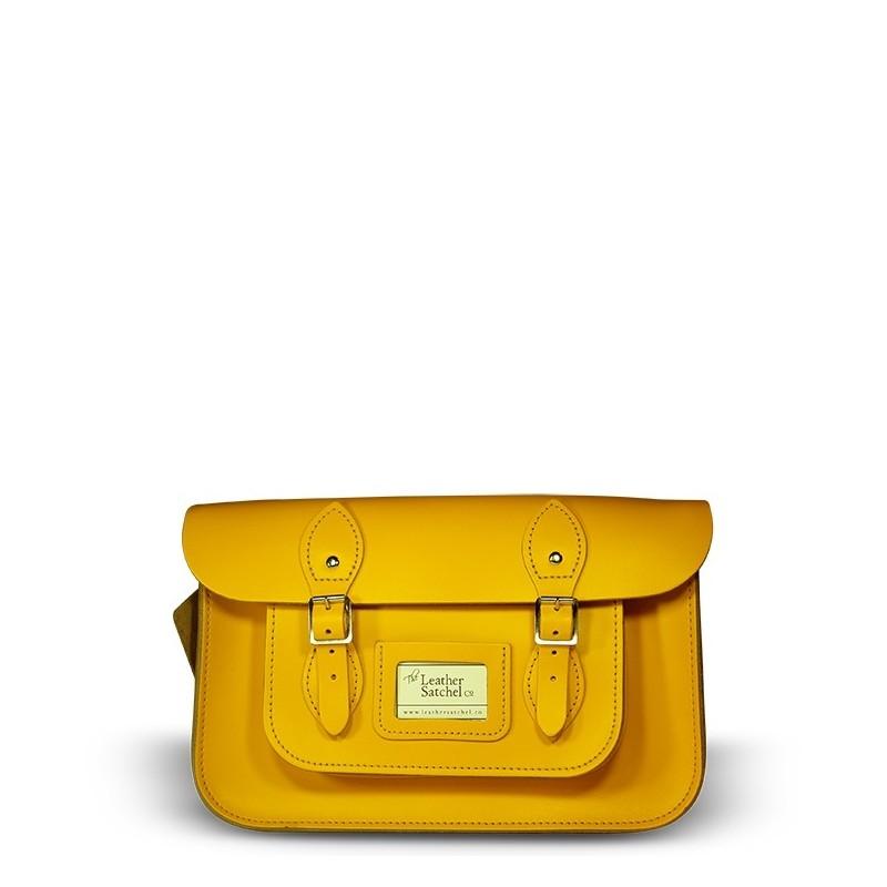 Kožená brašna od Leather Satchel - Double Yellow, 12,5""