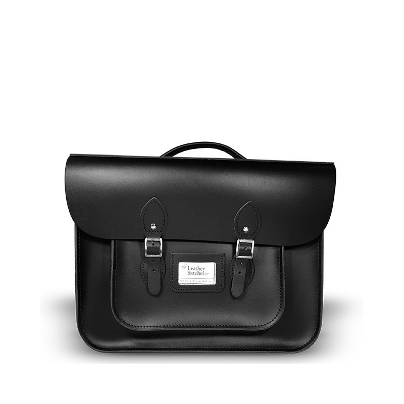 Kožená aktovka od Leather Satchel - Charcoal Black, 15""